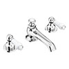 Chatsworth 1928 Traditional 3TH White Lever Basin Mixer Tap + Waste profile small image view 1