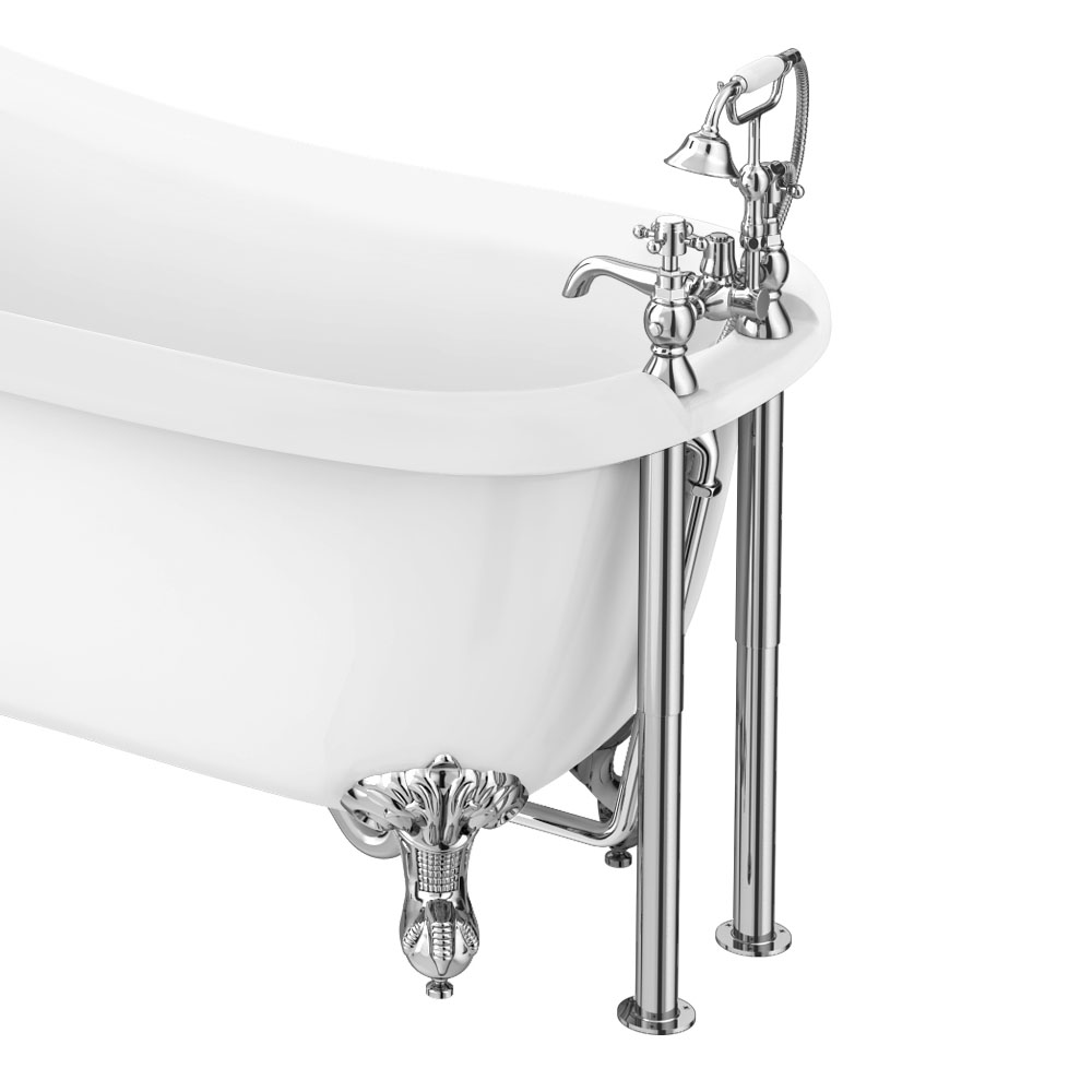 Chatsworth 1928 Traditional Bath Shower Mixer Tap with Adjustable Shrouds for Roll Top Baths