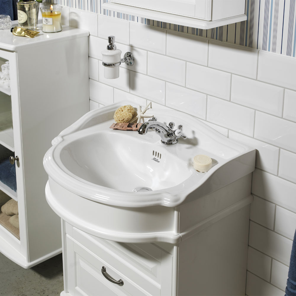 Miller - Traditional 1903 65 Two Drawer Vanity Unit with Ceramic Basin profile large image view 2
