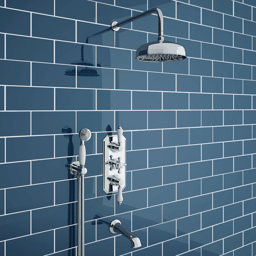 Trafalgar Traditional Shower Package with Fixed Head, Handset + Bath Spout