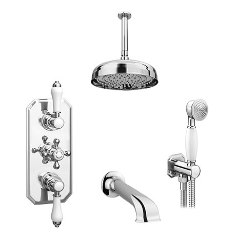 Trafalgar Traditional Shower Package with Ceiling Mounted Fixed Head, Handset + Bath Spout