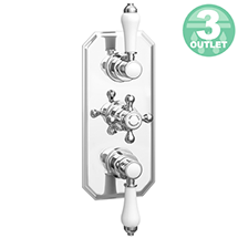 Trafalgar Traditional Triple Concealed Thermostatic Shower Valve with Diverter Medium Image
