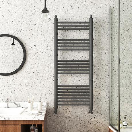 Keswick Anthracite Traditional 500 x 1200mm Heated Towel Rail