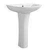 Turin Round Basin 570mm Round 1 TH Basin + Full Pedestal profile small image view 1
