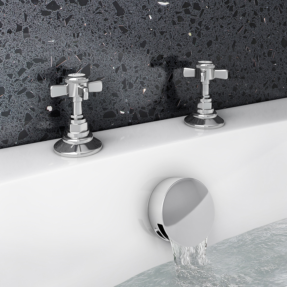 Chatsworth Traditional Deck Bath Side Valves with Freeflow Bath Filler