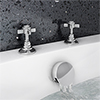 Chatsworth Traditional Deck Bath Side Valves with Freeflow Bath Filler profile small image view 1