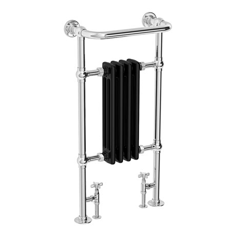 Westport Traditional 963 x 493mm Black Heated Towel Rail Radiator