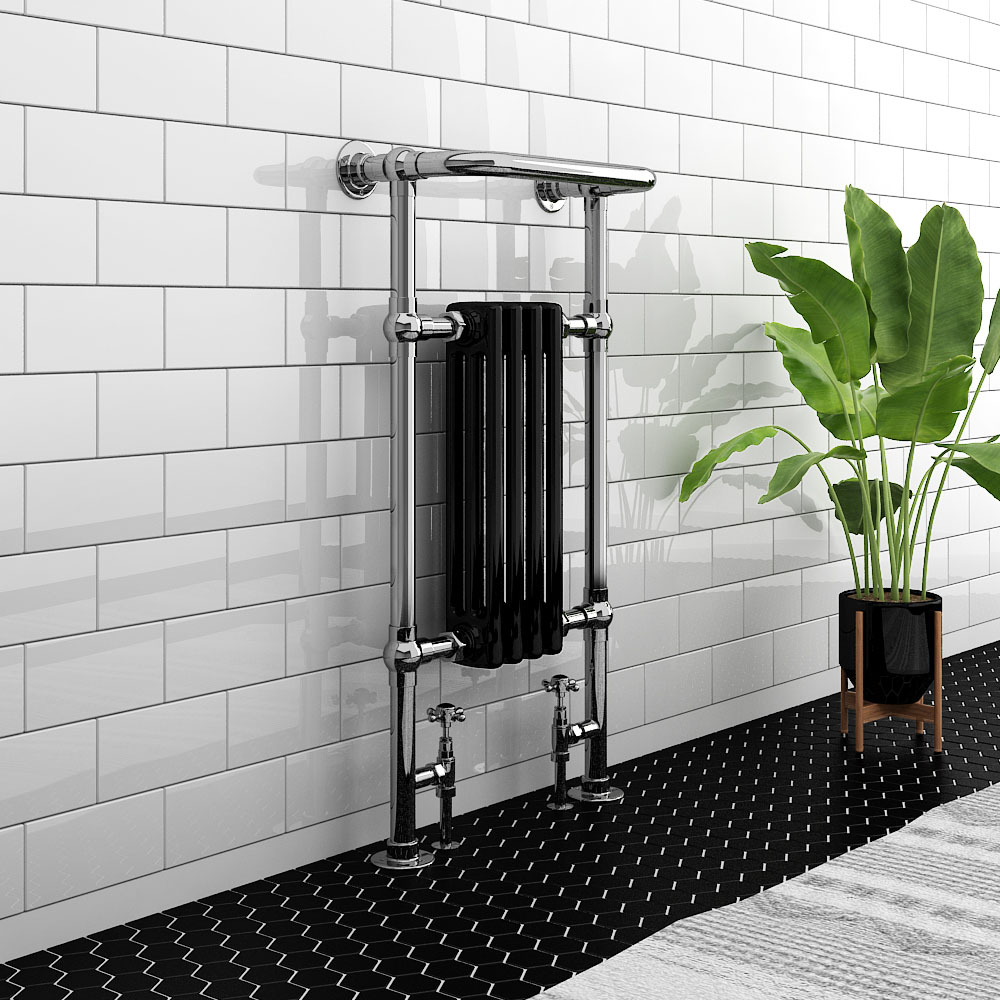 Westport Traditional 963 x 493mm Black Heated Towel Rail Radiator