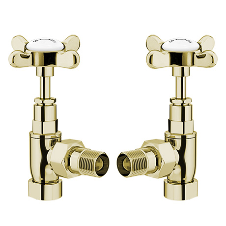 Antique Gold Angled Traditional Radiator Valves