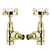 Antique Gold Angled Traditional Radiator Valves profile small image view 1