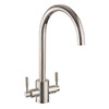Rangemaster Aquatrend Dual Lever Kitchen Mixer Tap - Brushed Finish profile small image view 1