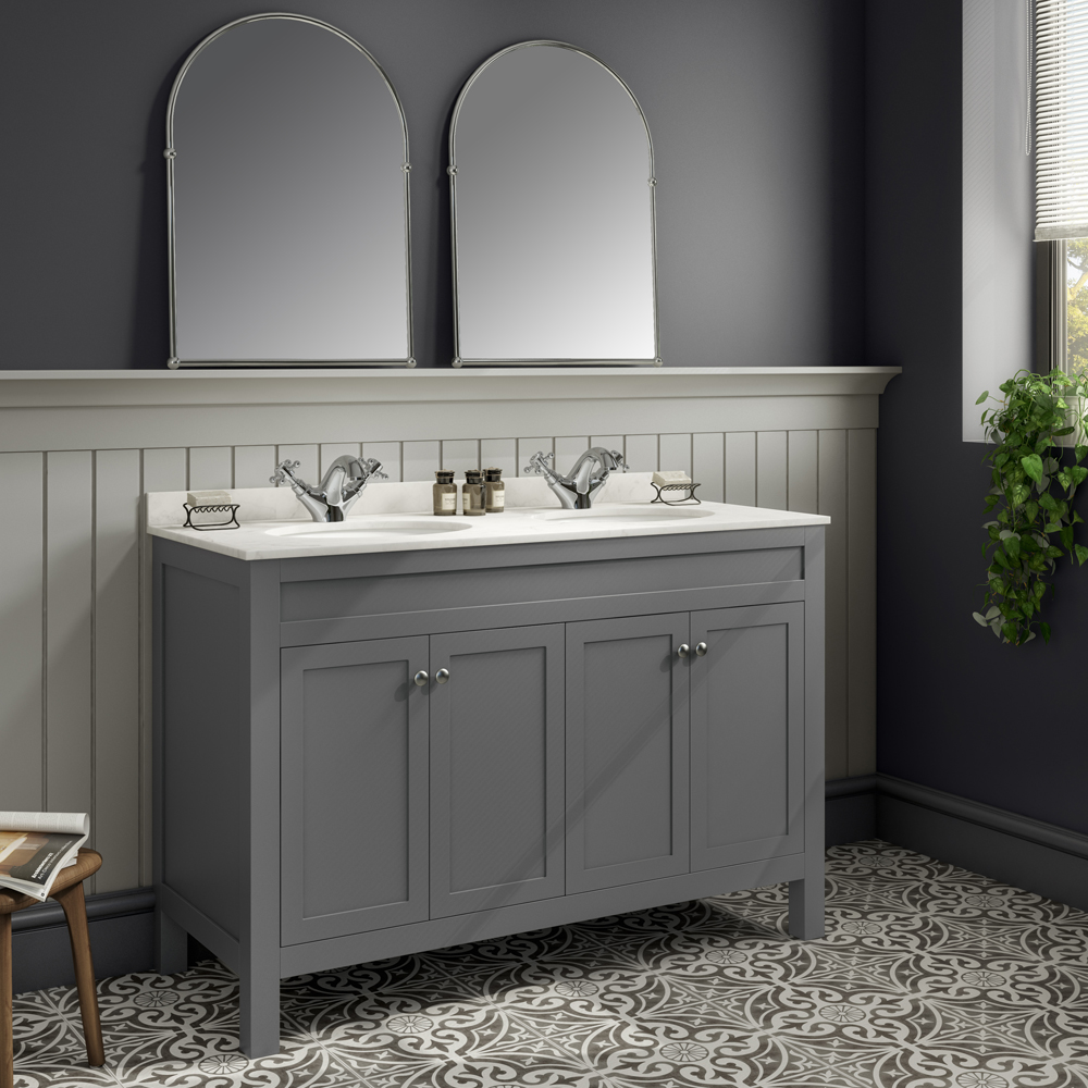 Trafalgar 1200mm Grey Double Basin Vanity Unit with White Marble Basin Top