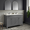 Trafalgar 1200mm Grey Double Basin Vanity Unit with White Marble Basin Top profile small image view 1