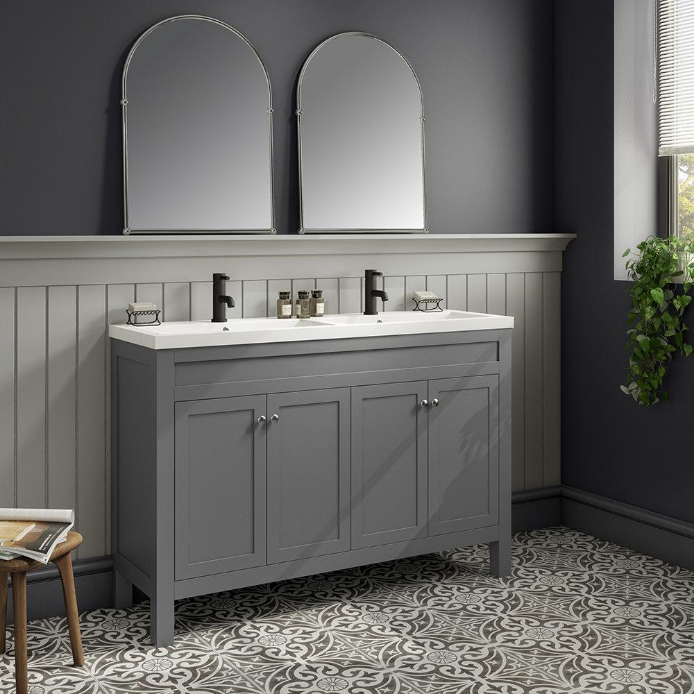 Trafalgar 1215mm Grey Double Basin Vanity Unit