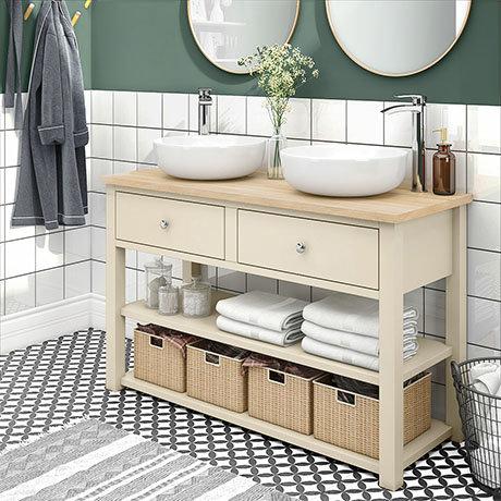 Trafalgar 1240mm Cream Countertop Vanity Unit and Double Round Basins
