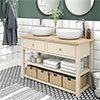 Trafalgar 1240mm Cream Countertop Vanity Unit and Double Round Basins profile small image view 1
