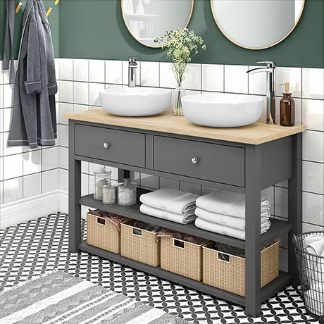 Trafalgar 1240mm Grey Countertop Vanity Unit and Double Round Basins