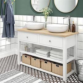 Trafalgar 1240mm White Countertop Vanity Unit and Double Round Basins