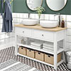 Trafalgar 1240mm White Countertop Vanity Unit and Double Round Basins profile small image view 1