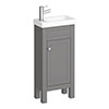 Trafalgar 405mm Grey Cloakroom Vanity Unit profile small image view 1