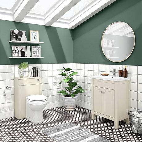 Trafalgar Cream Sink Vanity Unit + Toilet Package