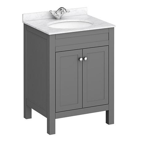 Trafalgar 610mm Grey Vanity Unit with White Marble Basin Top