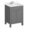 Trafalgar 610mm Grey Vanity Unit with White Marble Basin Top profile small image view 1
