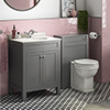 Trafalgar Grey Vanity Unit with White Marble Basin Top + Toilet Unit Pack profile small image view 1