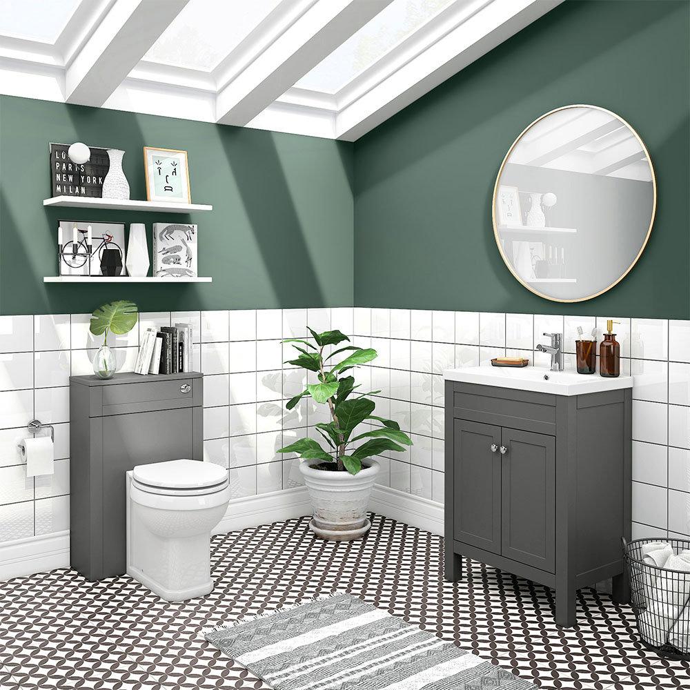 Trafalgar Grey Sink Vanity Unit + Toilet Package