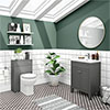 Trafalgar Grey Sink Vanity Unit + Toilet Package profile small image view 1
