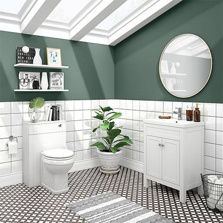 Trafalgar White Sink Vanity Unit + Toilet Package