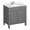 Trafalgar 810mm Grey Vanity Unit with White Marble Basin Top profile small image view 1