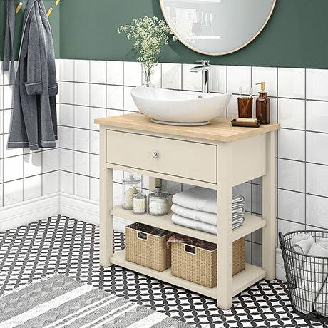 Trafalgar 840mm Cream Countertop Vanity Unit and Oval Basin