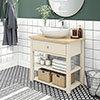 Trafalgar 840mm Cream Countertop Vanity Unit and Oval Basin profile small image view 1