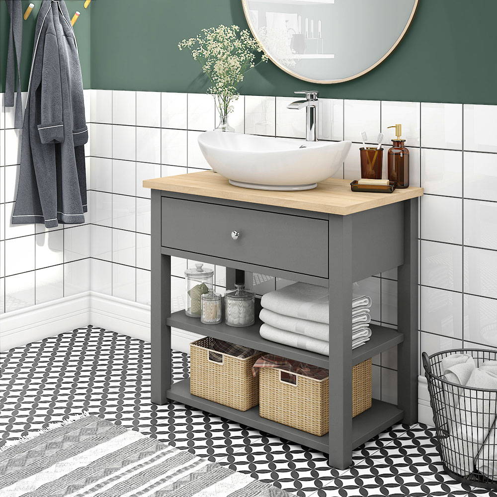 Trafalgar 840mm Grey Countertop Vanity Unit And Oval Basin