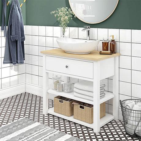 Trafalgar 840mm White Countertop Vanity Unit and Oval Basin