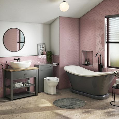 Trafalgar Traditional Bathroom Suite - 1685mm Slipper Bath with Grey Basin Unit + Toilet