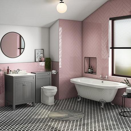 Trafalgar Traditional Bathroom Suite - 1685mm Roll Top Bath with Grey Vanity + Toilet
