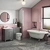 Trafalgar Traditional Bathroom Suite - 1685mm Roll Top Bath with Grey Vanity + Toilet profile small image view 1