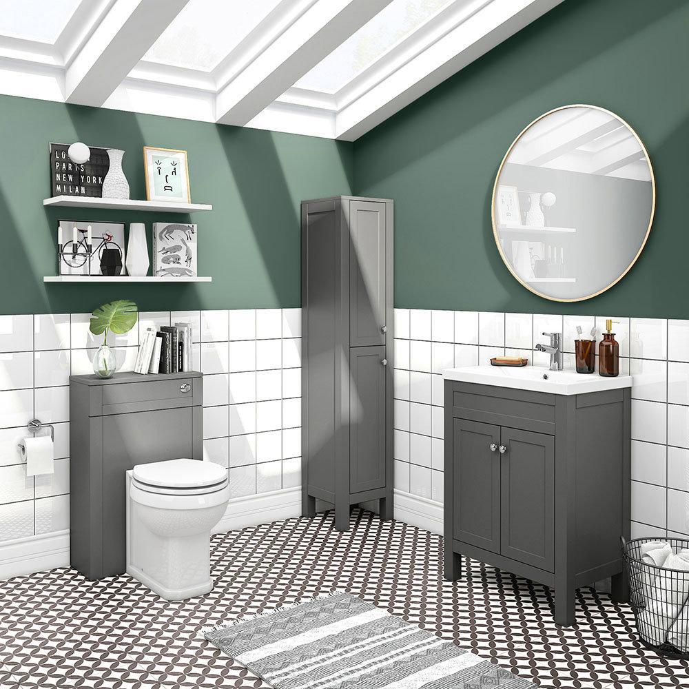Trafalgar 1600mm Grey Tall Floor Standing Cabinet
