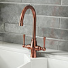 Trafalgar Brushed Copper Dual Lever Kitchen Mixer Tap profile small image view 1
