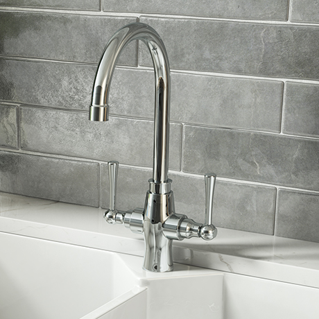 Trafalgar Polished Chrome Dual Lever Kitchen Mixer Tap