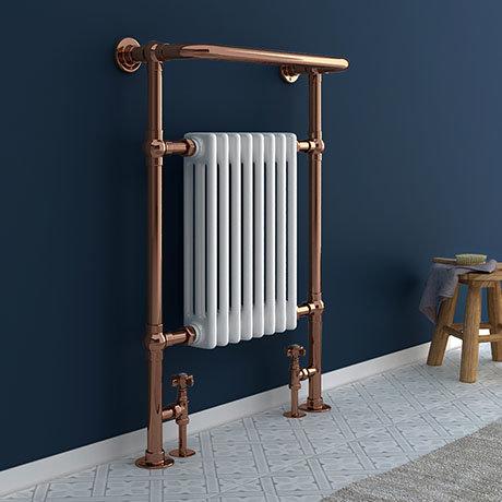 Savoy Rose Gold Traditional Heated Towel Rail Radiator