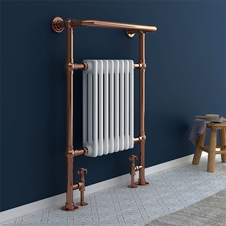 Savoy Rose Gold Traditional Heated Towel Rail Radiator