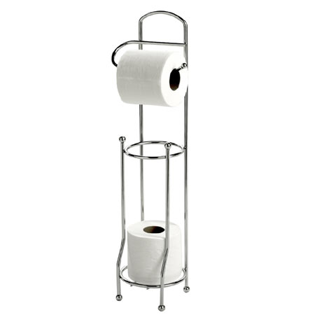 Basic Freestanding Toilet Roll Holder & Spare Roll Holder