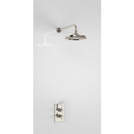 Arcade Trent Thermostatic Concealed Single Outlet Shower Valve with Fixed Head - Nickel