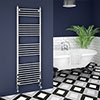 Trafalgar W500 x H1600mm Traditional Heated Ladder Towel Rail - Straight profile small image view 1