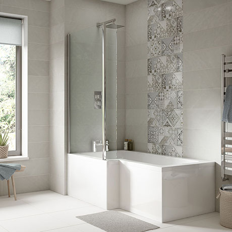 Turin 1700 Square Shower Bath with Fixed Screen + Panel