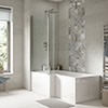 Turin 1700 Square Shower Bath with Fixed Screen + Panel profile small image view 1