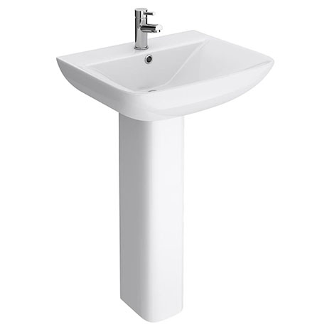 Turin Square Basin 550mm Round 1 TH Basin + Full Pedestal
